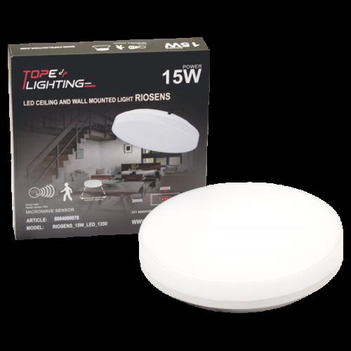 15W sieninis lubinis LED šviestuvas su mikrobangų davikliu RIOSENS