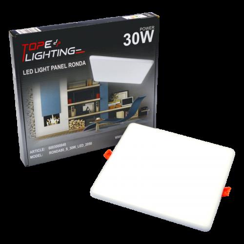 30W kvadratinė, įmontuojama LED panelė RONDA